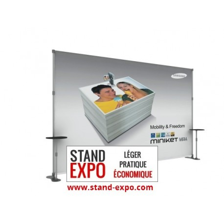 Exhibition modular stand with two tables