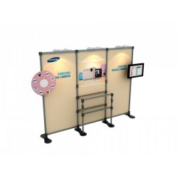 Stand publicitaire avec étagères et support LCD