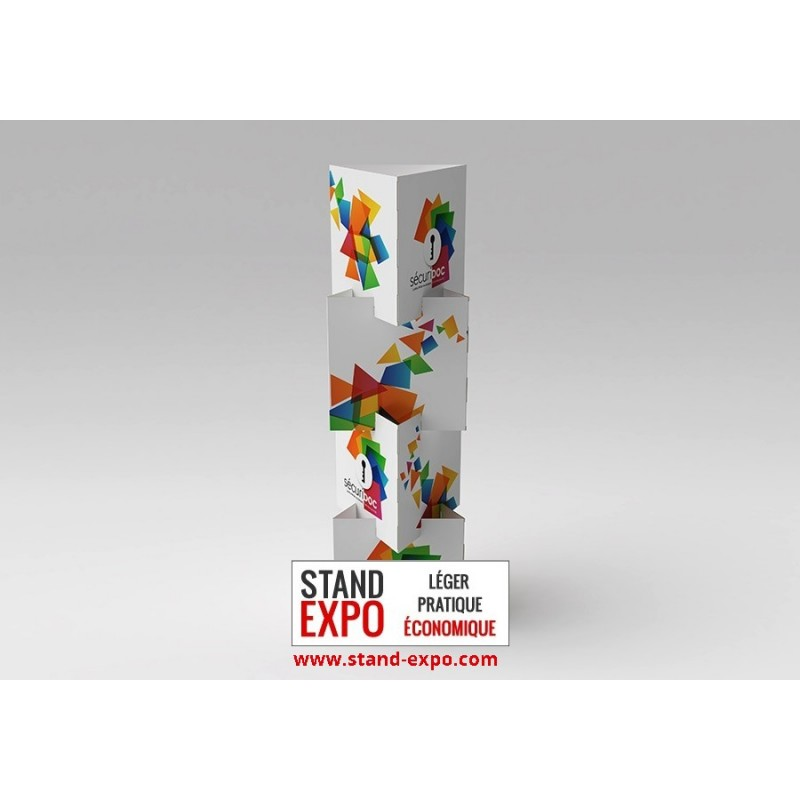 Discount triangular totem stand expo for Totem stand