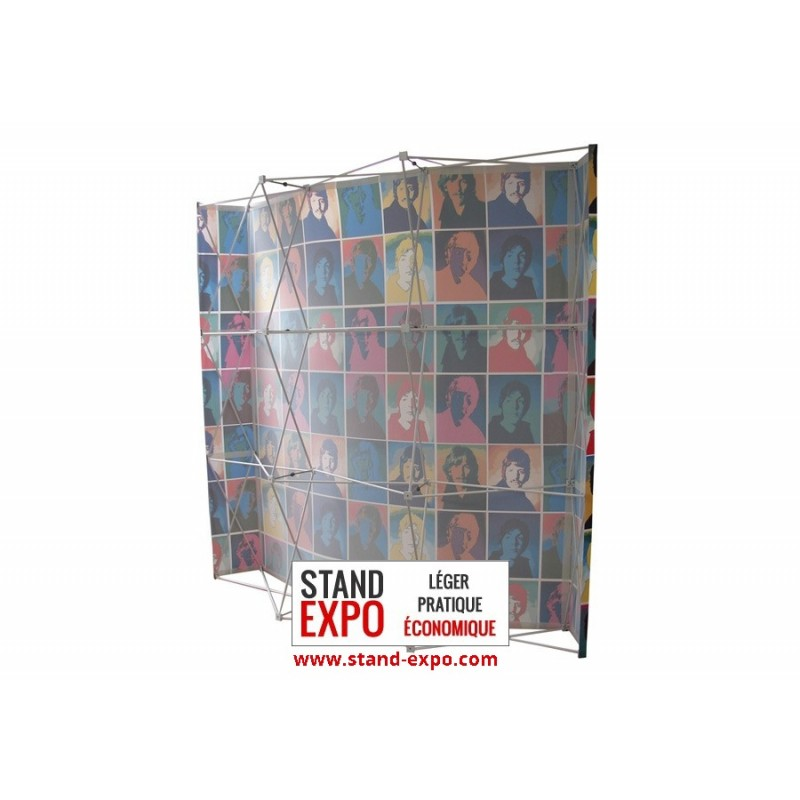 Curved fabric pop up wall stand expo for Stand parapluie