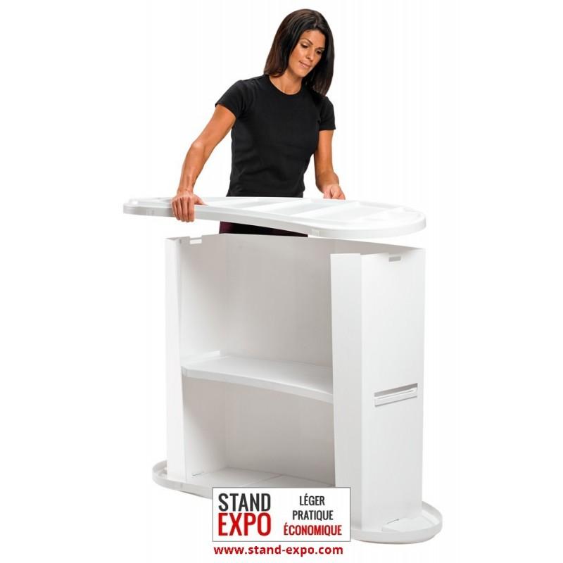 Comptoir d 39 accueil plastique avec ou sans enseigne stand for Stand accueil